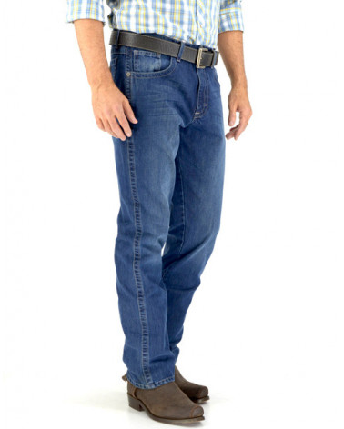 jeans western relaxed fit hombre índigo wrangler lateral